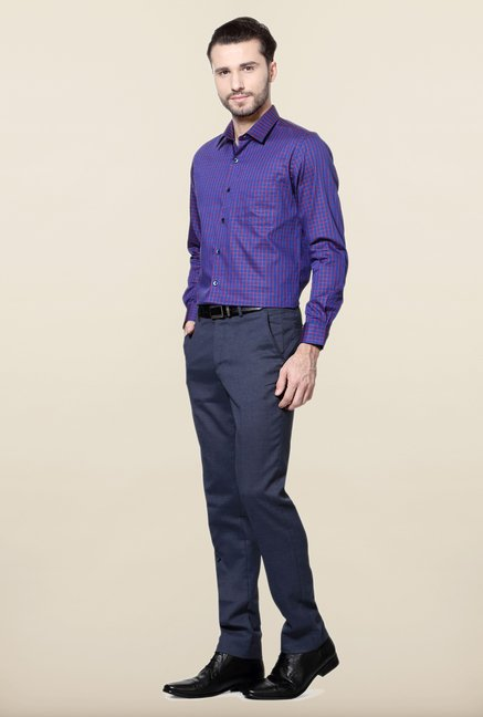 Peter England Royal Blue & Red Checks Formal Shirt