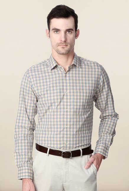Peter England Blue & Beige Checks Formal Shirt