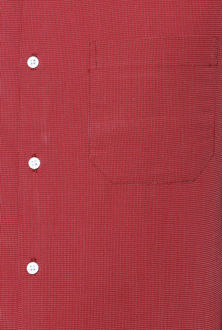 Peter England Red Cotton Formal Shirt
