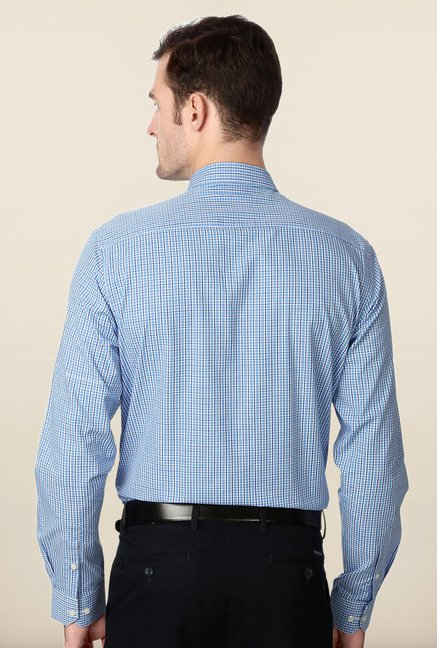 Peter England Blue Full Sleeves Cotton Shirt