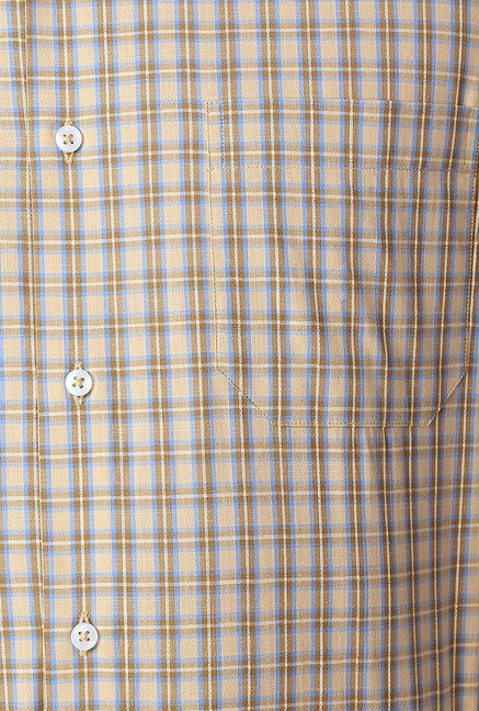 Peter England Beige Checks Slim Fit Shirt