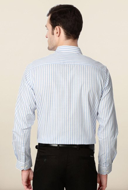 Peter England Blue Striped Cotton Shirt