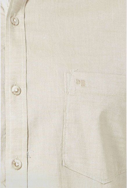 Peter England Beige Solid Casual Shirt