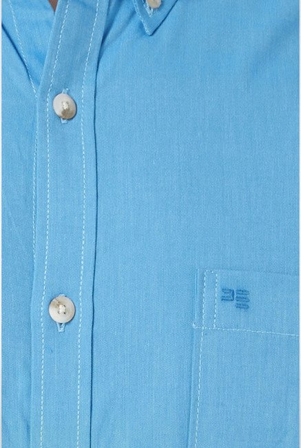Peter England Light Blue Solid Slim fit Casual Shirt