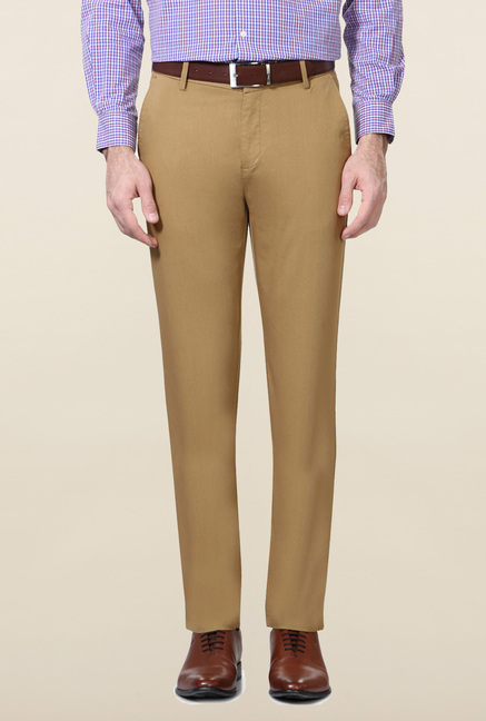 Peter England Khaki Solid Trouser
