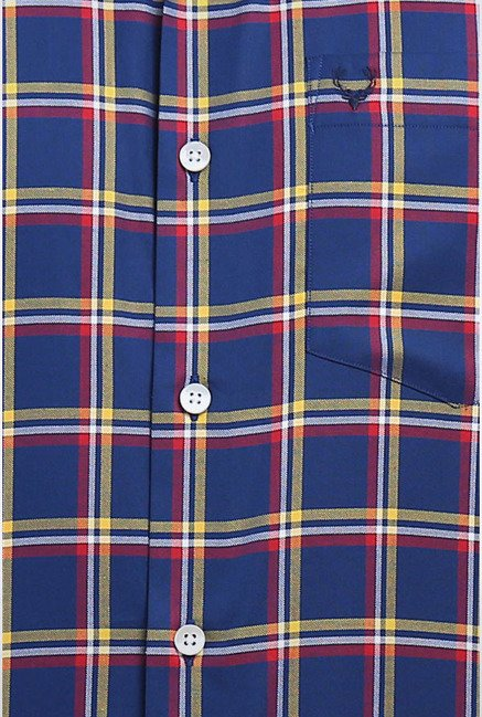 Allen Solly Navy & Yellow Checks Casual Shirt
