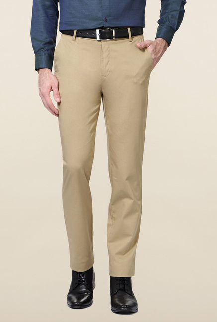 Peter England Khaki Slim Fit Trouser