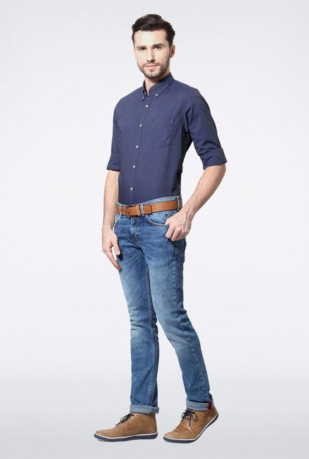 Peter England Navy Solid Slim fit Casual Shirt