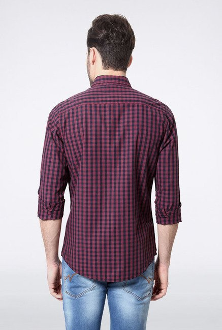 Allen Solly Purple & Navy Checks Casual Shirt