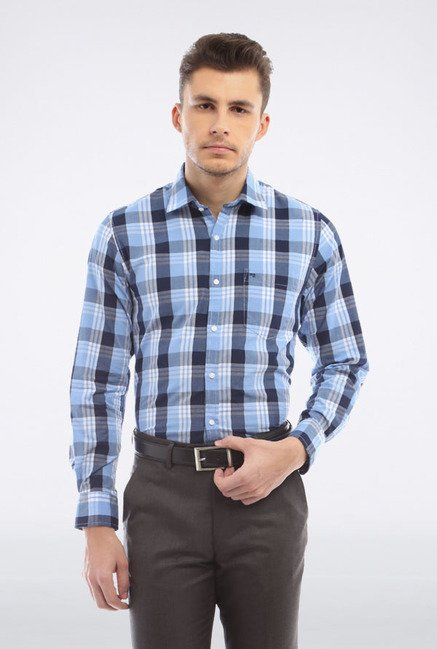 Peter England Blue & Black Checks Slim fit Casual Shirt
