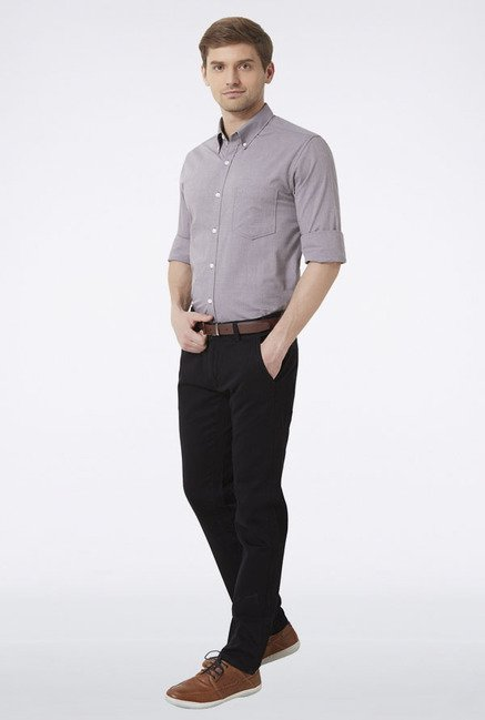 Peter England Grey Solid Slim fit Casual Shirt