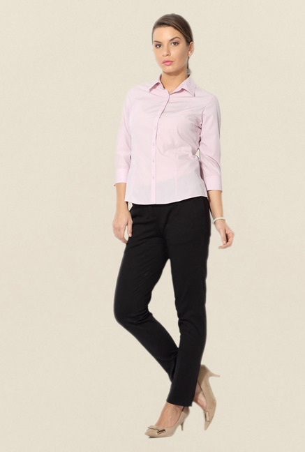 Allen Solly Pink Solid Formal Shirt