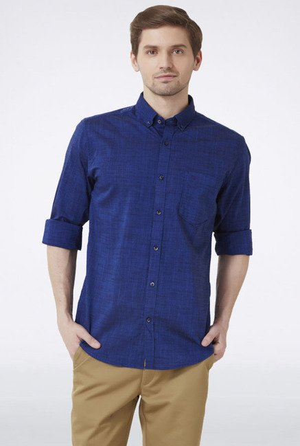 Peter England Dark Blue Solid Slim fit Casual Shirt