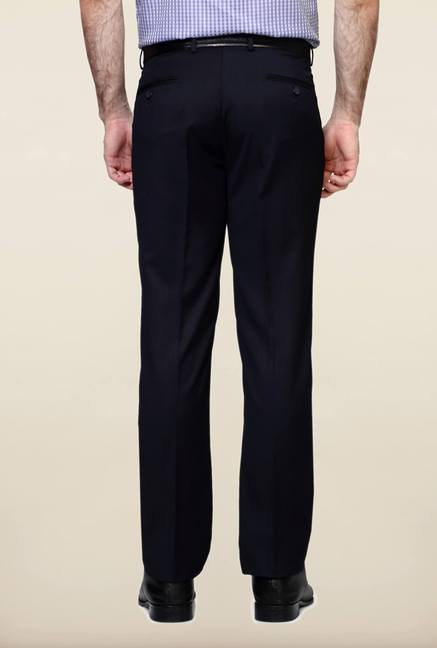 Peter England Navy Solid Trouser