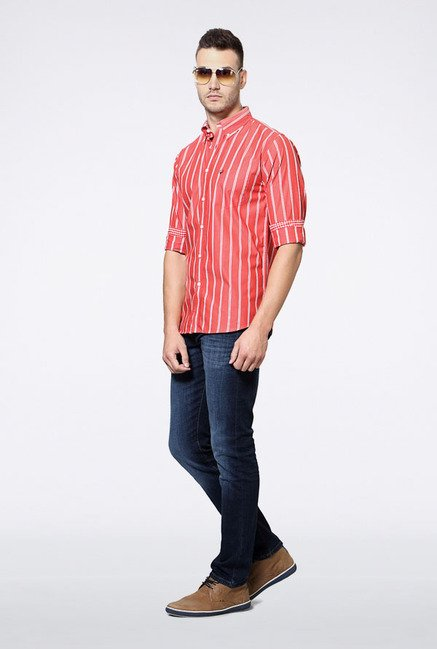 Allen Solly Red Striped Slim fit Casual Shirt