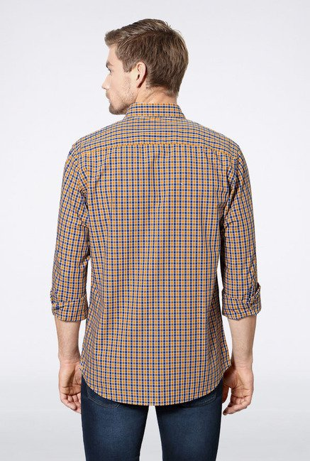Allen Solly Brown & Navy Checks Slim fit Casual Shirt