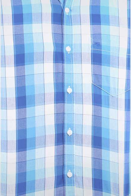Peter England Blue & White Checks Slim fit Casual Shirt
