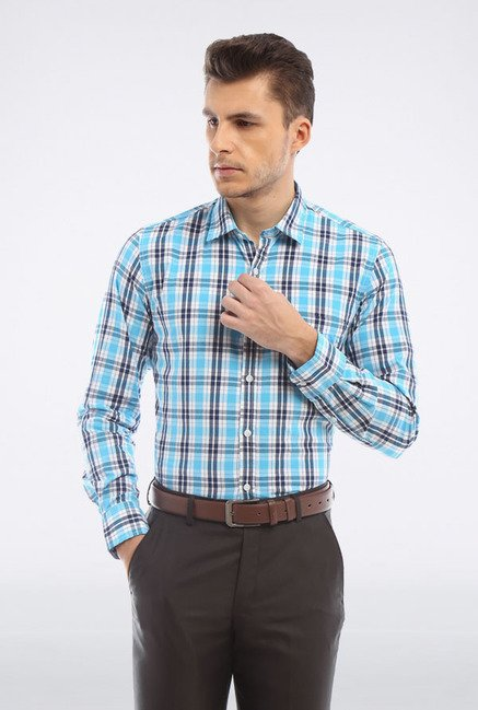 Peter England Blue & Black Checks Casual Shirt