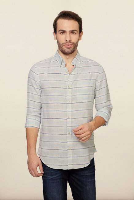 Peter England White Striped Slim fit Casual Shirt