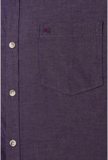 Peter England Purple Solid Slim fit Casual Shirt