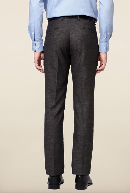 Peter England Grey Flat Front Trouser