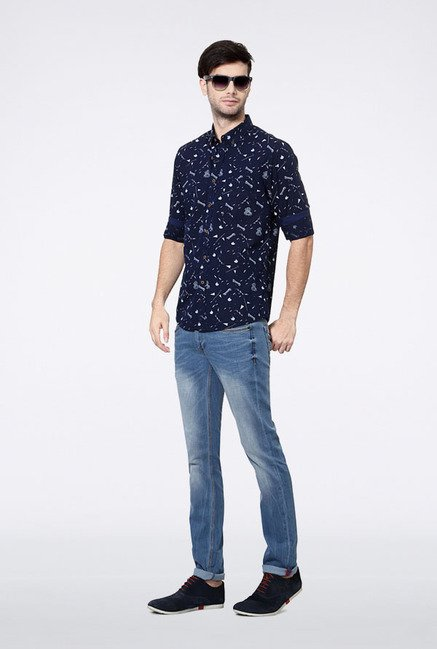 Allen Solly Navy Printed Casual Shirt