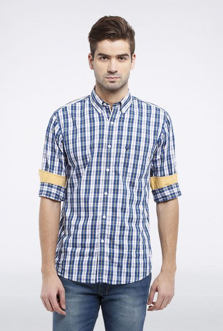 Allen Solly Blue & White Checks Slim fit Casual Shirt