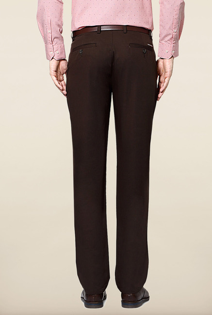 Peter England Brown Cotton Slim Fit Trouser