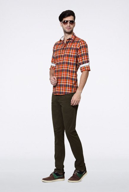 Allen Solly Orange & Navy Checks Slim fit Casual Shirt
