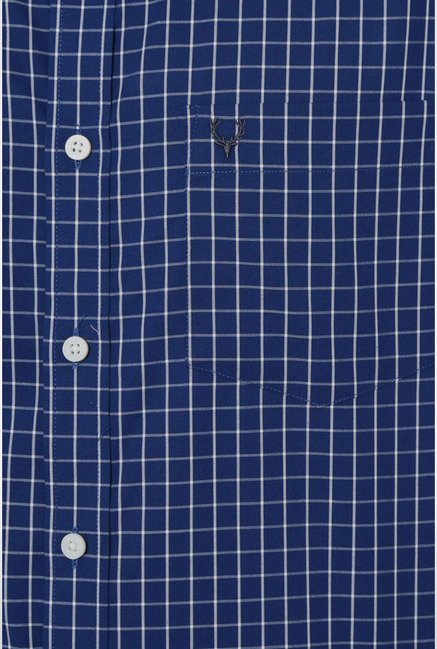 Allen Solly Navy Graph Checks Slim fit Casual Shirt