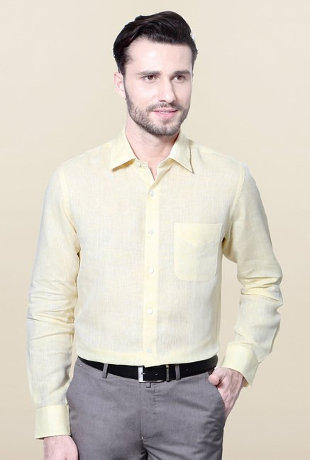 Peter England Yellow Slim Fit Formal Shirt