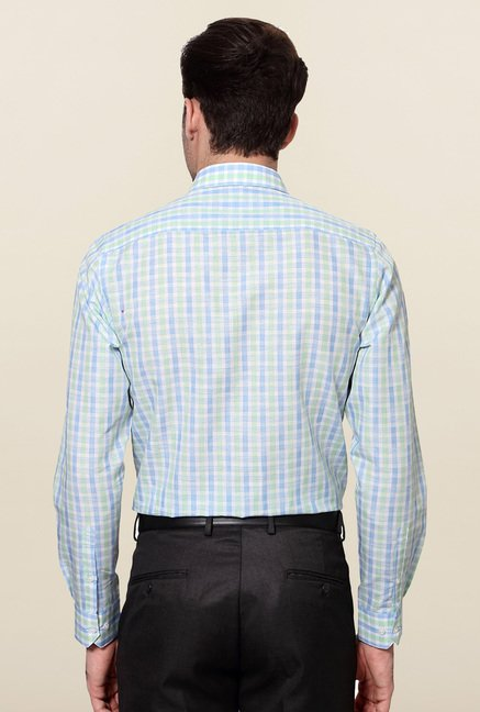 Peter England Blue & Green Checks Slim Fit Formal Shirt