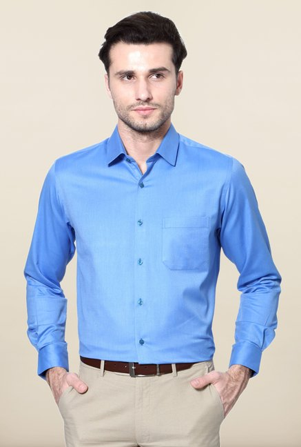 Peter England Blue Solid Shirt