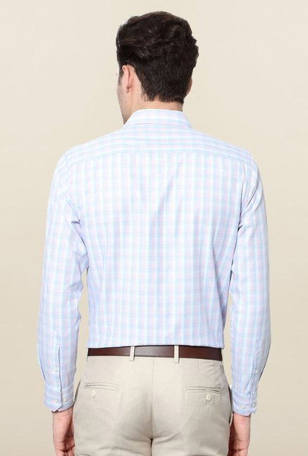 Peter England Blue & Pink Full Sleeves Formal Shirt