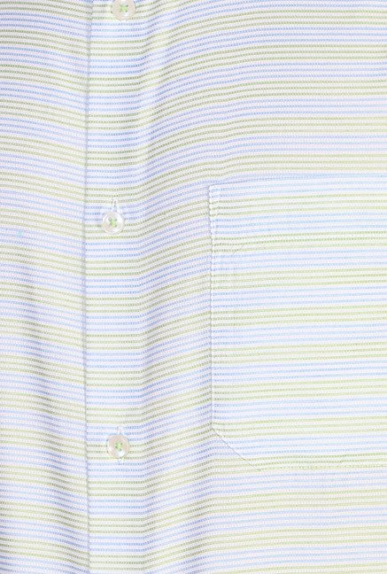 Peter England Green & Blue Striped Formal Shirt