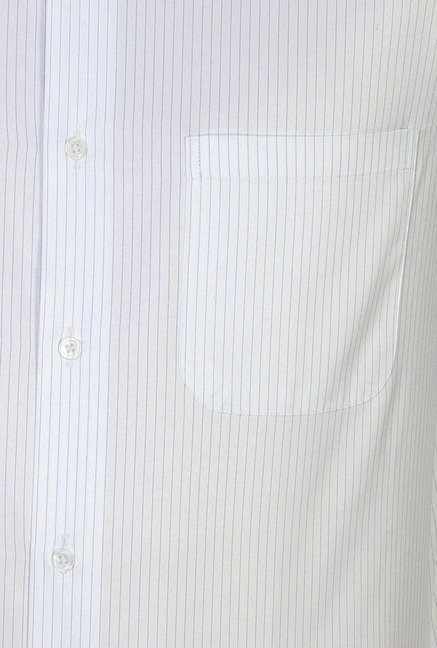 Peter England White Pin Striped Formal Shirt