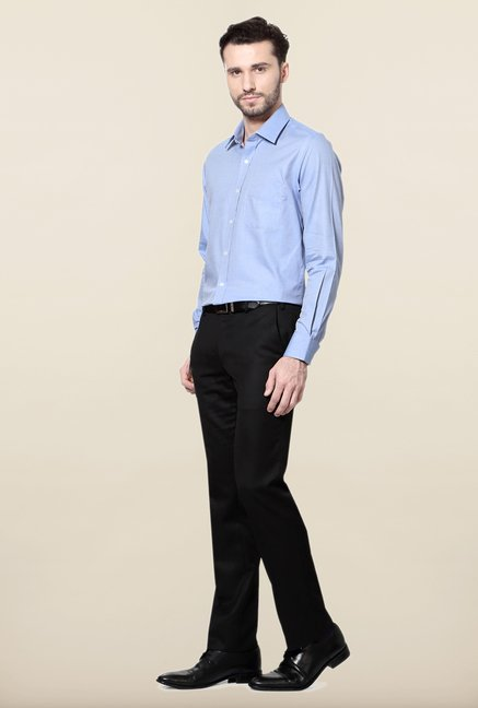 Peter England Blue Printed Slim Fit Cotton Formal Shirt