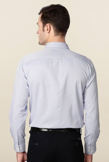 Peter England White & Blue Slim Fit Formal Shirt