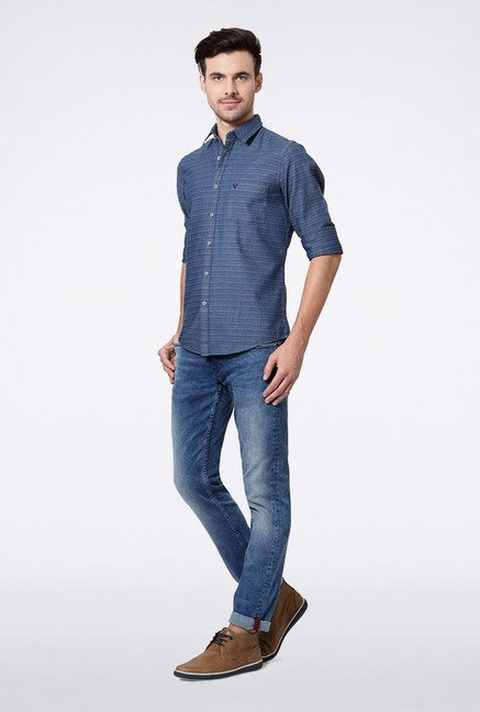 Allen Solly Blue Pin Striped Casual Shirt
