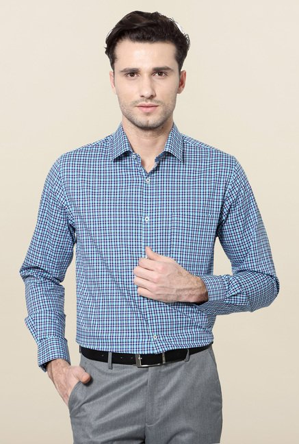Peter England Blue Cotton Formal Shirt