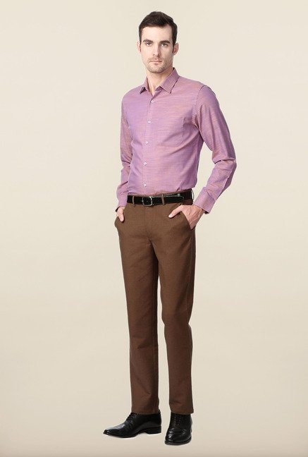 Peter England Purple Slim Fit Cotton Shirt