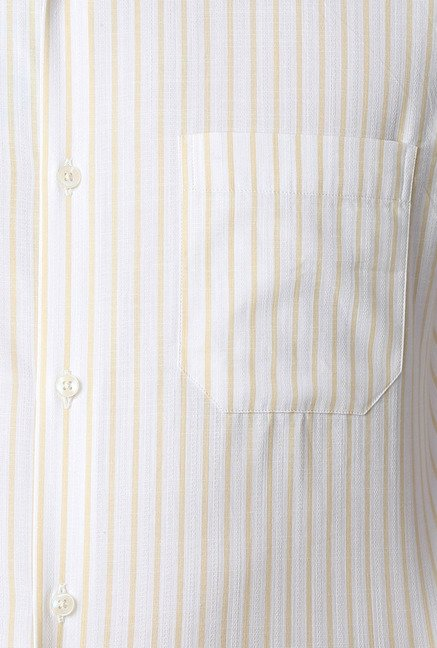 Peter England White & Yellow Striped Formal Shirt