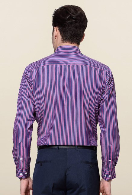 Peter England Pink & Purple Striped Slim Fit Shirt