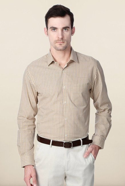Peter England Beige Cotton Slim Fit Formal Shirt