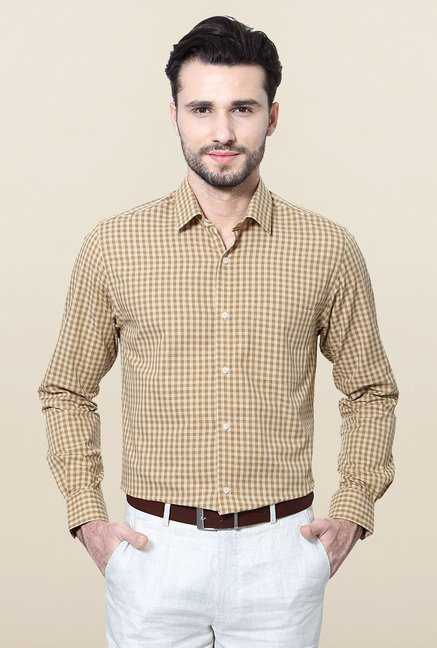 Peter England Brown Slim Fit Formal Shirt