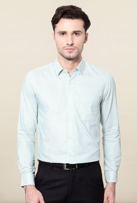 Peter England Green & Blue Striped Slim Fit Shirt