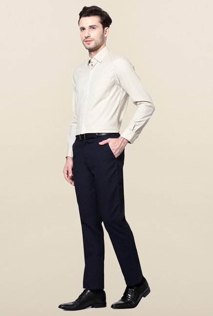 Peter England Cream Solid Formal Shirt