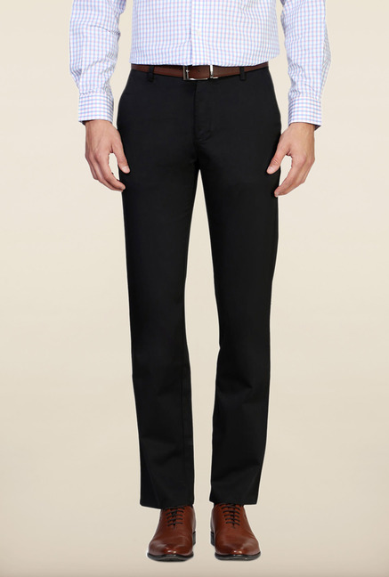 Peter England Black Solid Cotton Trouser