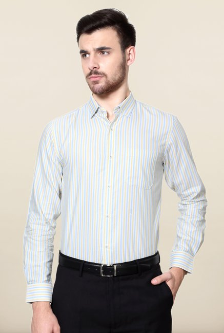 Peter England Blue & Orange Striped Formal Shirt