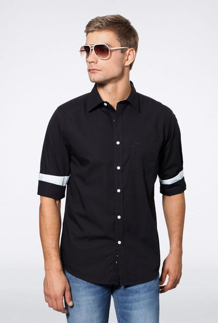 Allen Solly Black Solid Slim Fit Casual Shirt